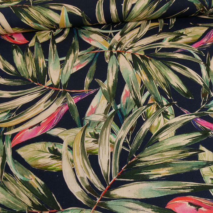 Tissu viscose lin feuilles vertes roses - bleu foncé x 10 cm