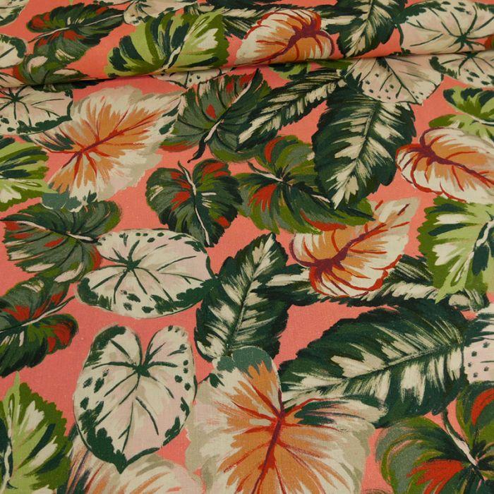 Tissu viscose lin feuilles vertes - rose x 10 cm