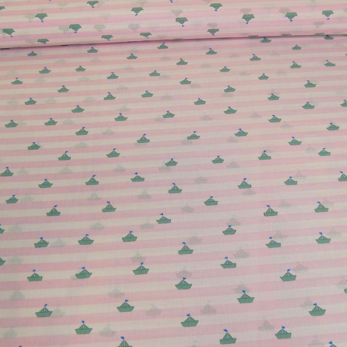 Tissu batiste coton bateaux rayures - rose x 10 cm