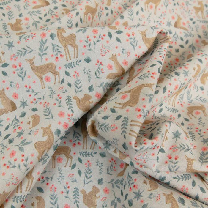 Tissu cotonnade animaux forêt - gris clair x 10 cm