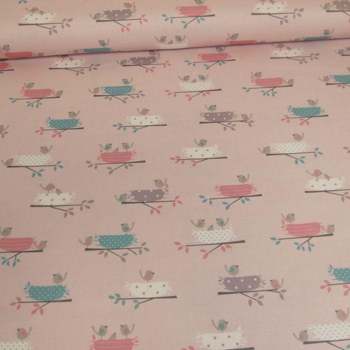 Tissu sergé de coton nids d'oiseaux - rose x 10 cm