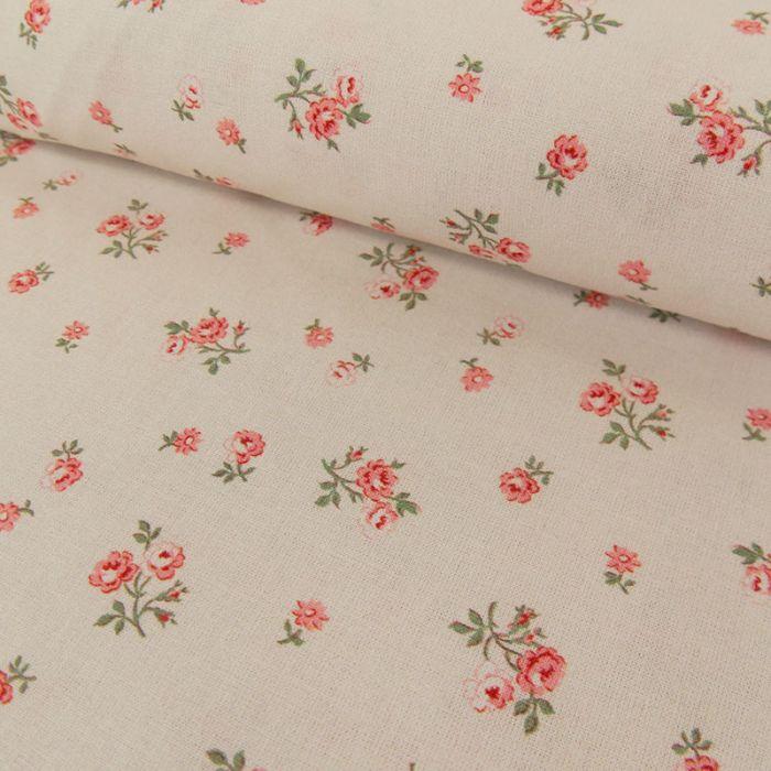 Tissu cotonnade roses - blanc cassé x 10 cm