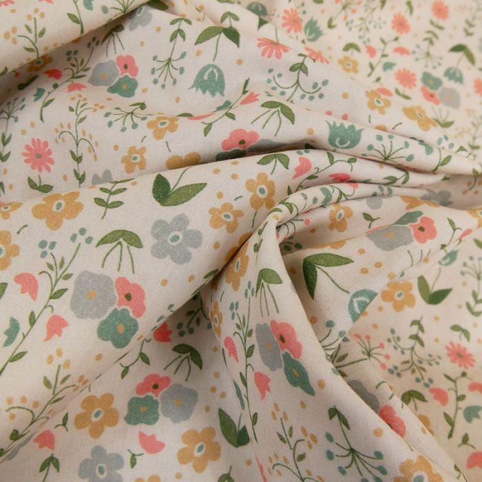Tissu cotonnade fleurs multicolores - blanc cassé x 10 cm