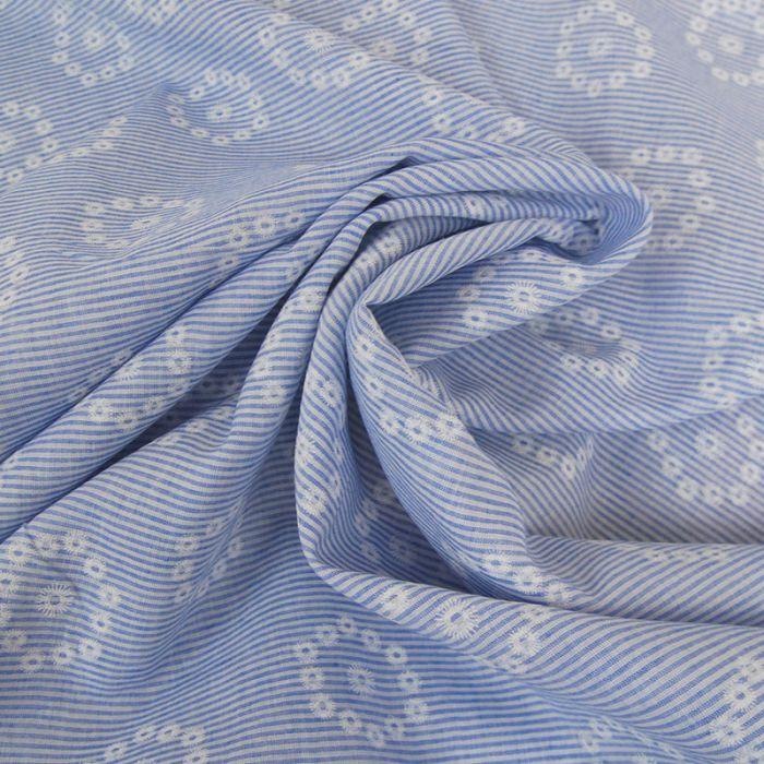 Tissu coton rayures fleurs brodées - bleu clair x 10 cm