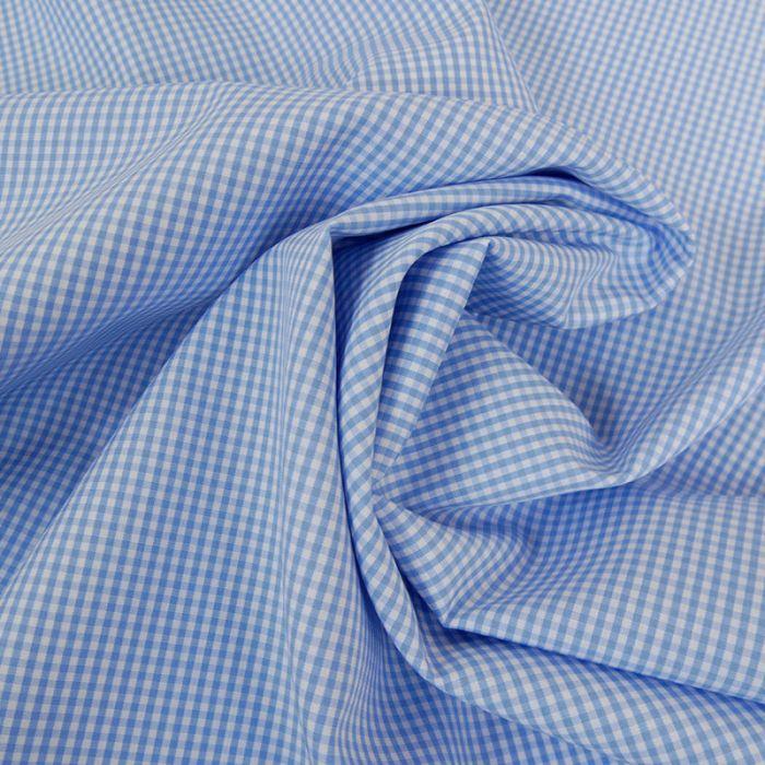 Tissu coton petits carreaux vichy - bleu x 10 cm