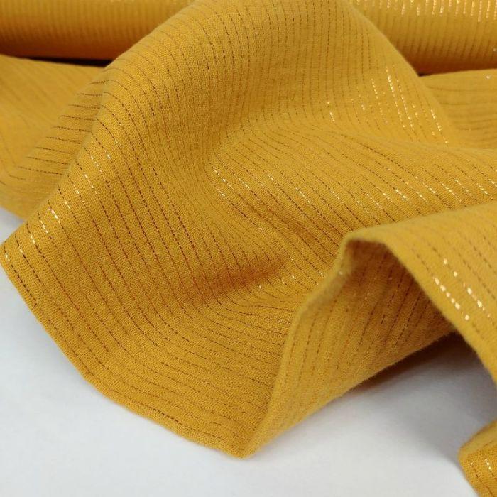 Tissu double gaze rayures lurex - moutarde x 10 cm