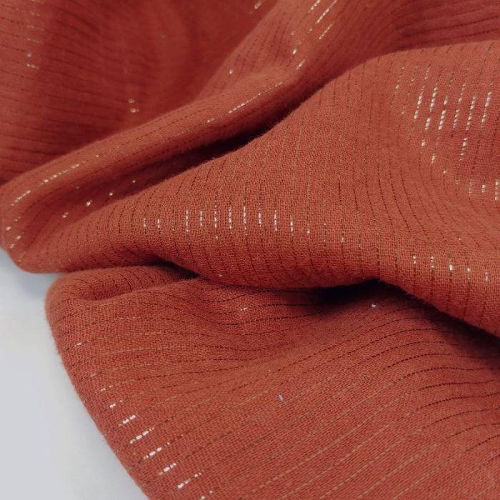 Tissu double gaze rayures lurex - terracotta x 10 cm