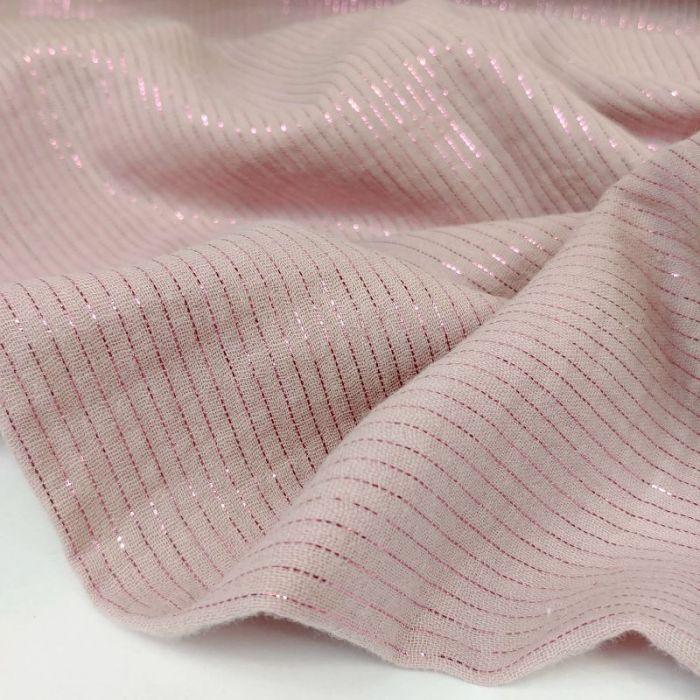 Tissu double gaze rayures lurex - rose x 10 cm