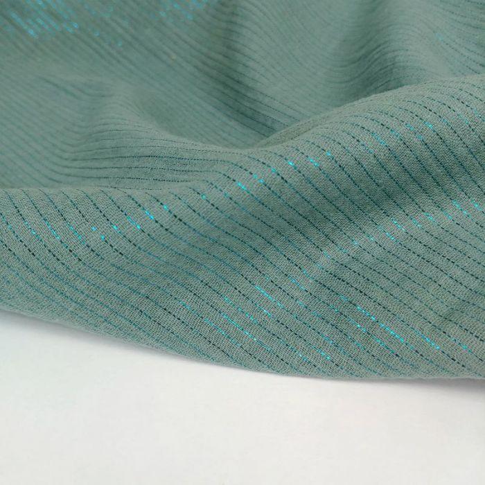 Tissu double gaze rayures lurex - eucalyptus x 10 cm