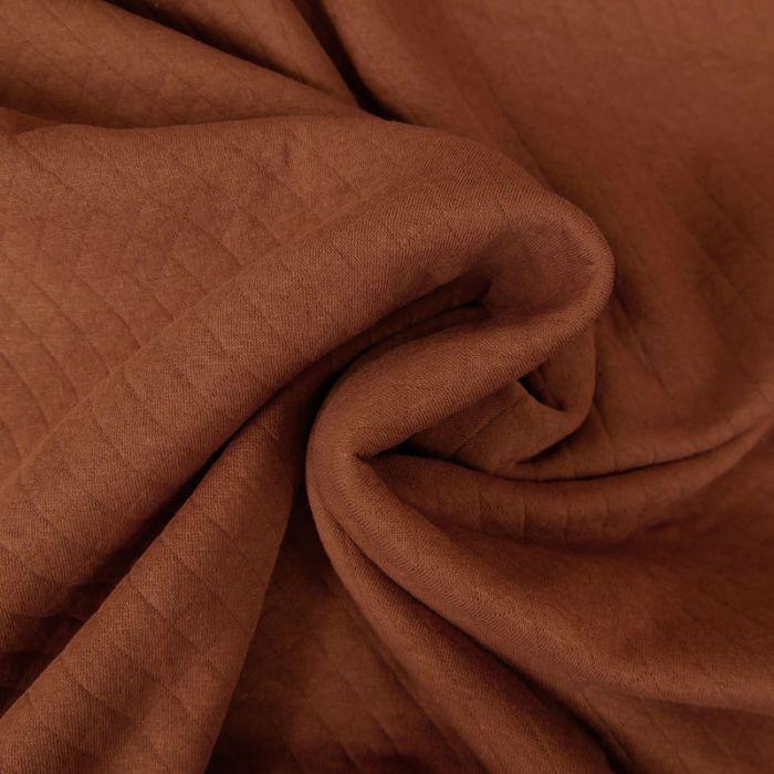 Jersey matelassé coton - brique x 10 cm