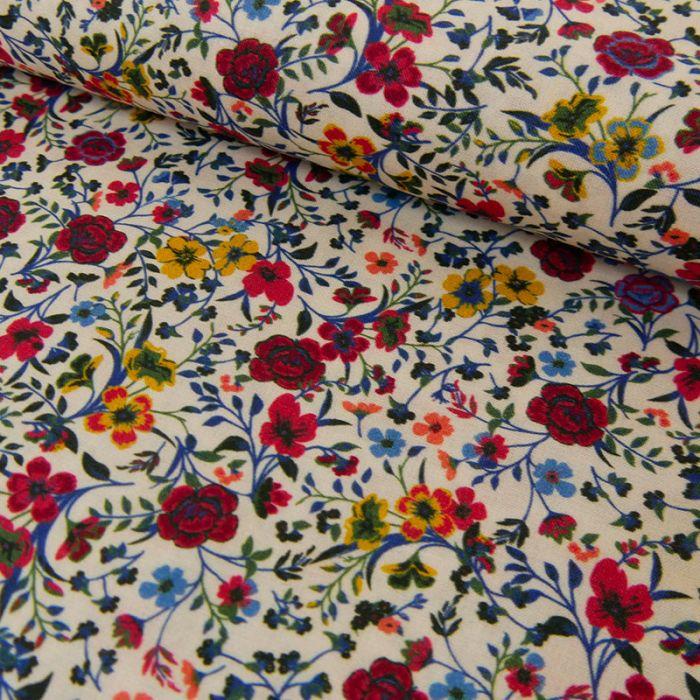 Tissu batiste coton fleurs rouges - blanc cassé x 10 cm