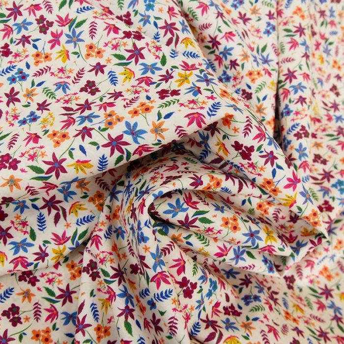 Tissu batiste coton fleurs multicolores  - blanc x 10 cm
