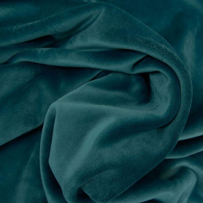 Tissu velours stretch - bleu canard x 10 cm
