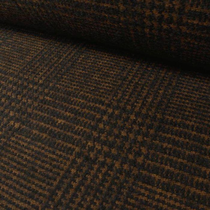 Tissu lainage carreaux noir - camel x 10 cm