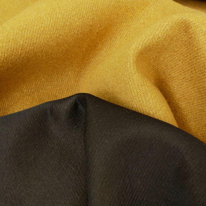 Tissu lainage épais - jaune moutarde x 10 cm