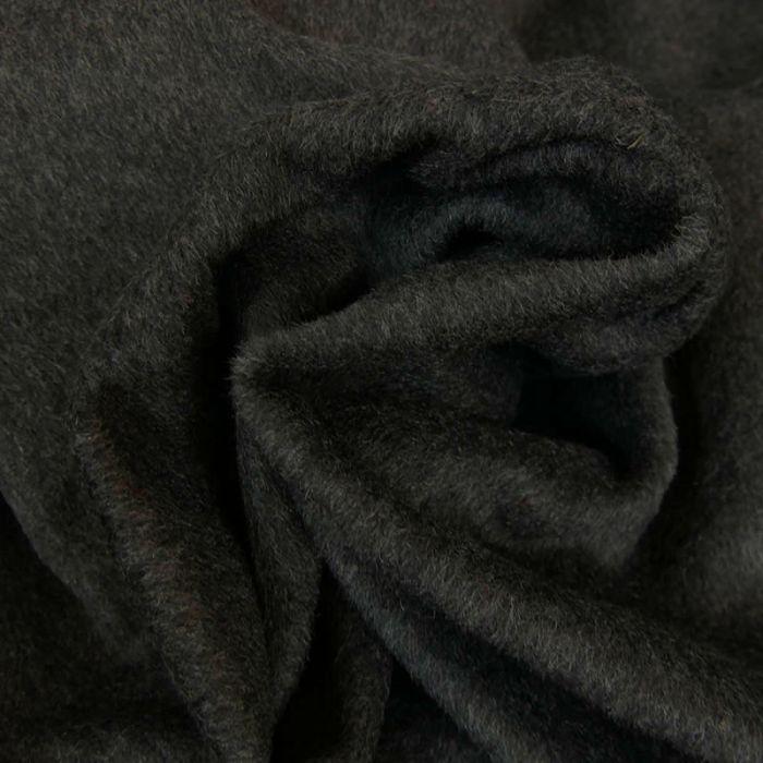 Tissu lainage poils ras - gris anthracite x 10 cm