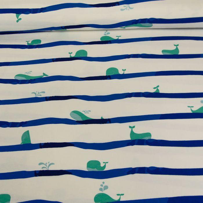 Tissu jersey fin rayures baleines - blanc x 10 cm