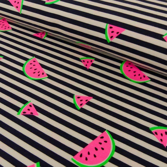 Tissu jersey pastèques rayures marine - blanc x 10 cm