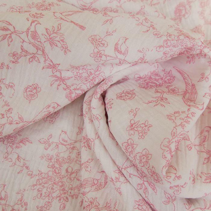 Tissu double gaze oiseaux roses - blanc x 10cm