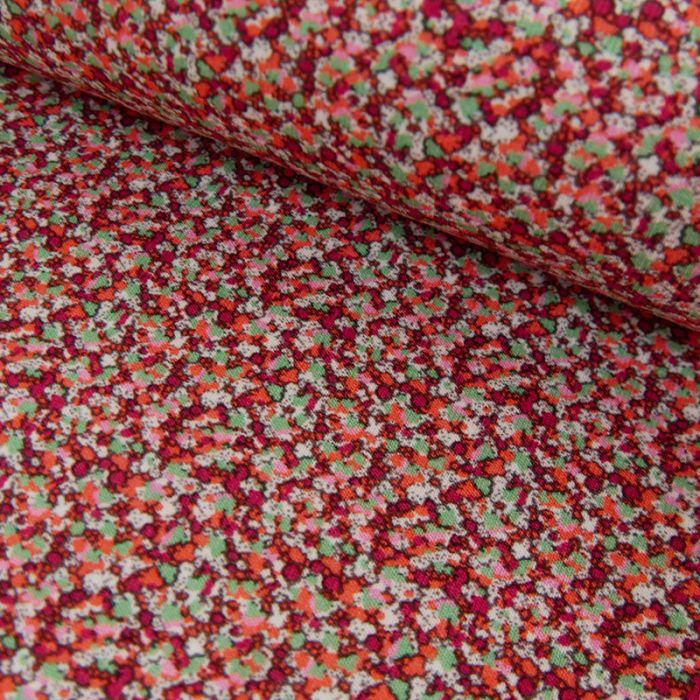 Tissu jersey fin géométriques - rose x 10 cm