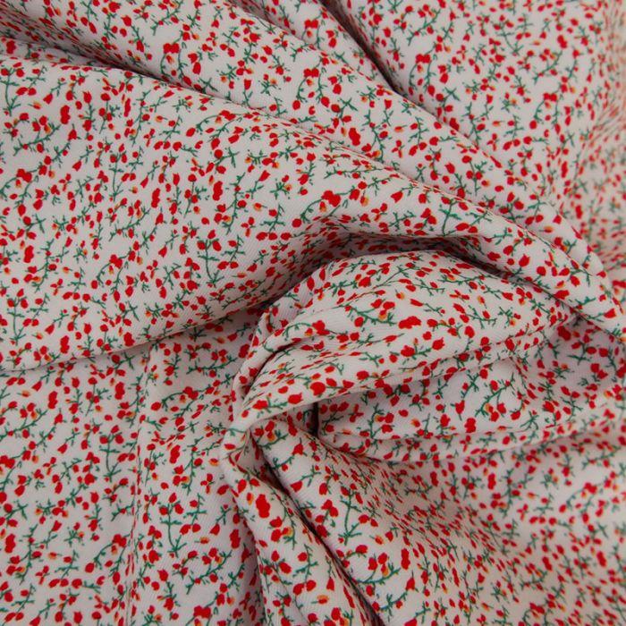 Tissu jersey fin fleurs rouges - blanc x 10 cm