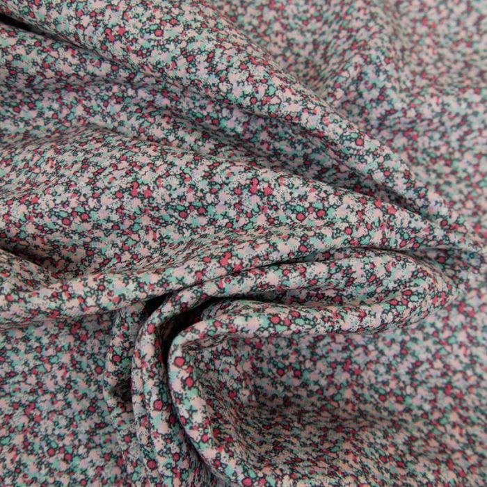 Tissu jersey fin géométriques - bleu x 10 cm