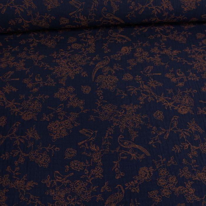 Tissu double gaze oiseaux marron - marine x 10cm