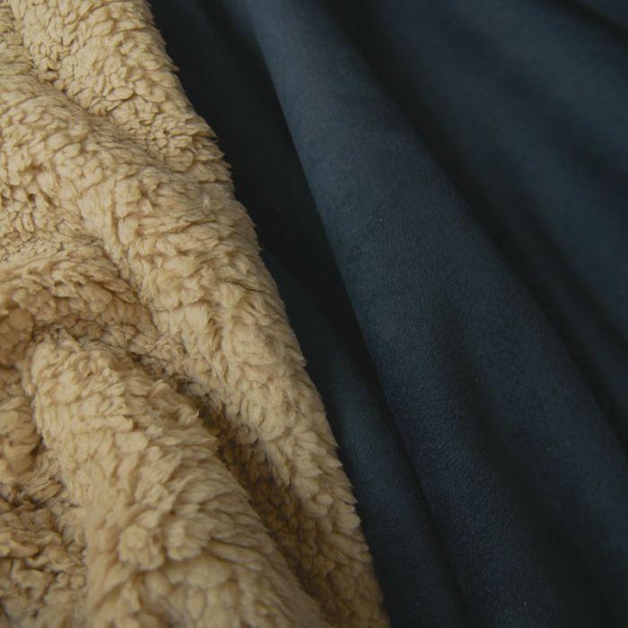 Coupon x 45 cm -Tissu suédine envers fourrure mouton encre
