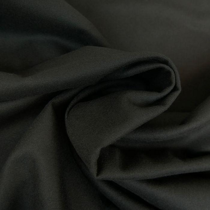 Tissu flanelle coton uni - noir x 10 cm