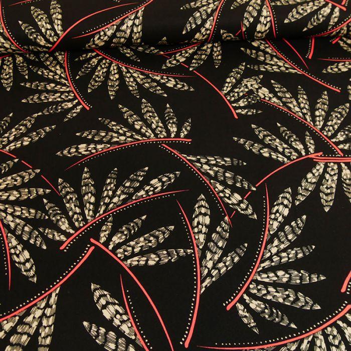 Tissu viscose feuilles rose - noir x 10 cm