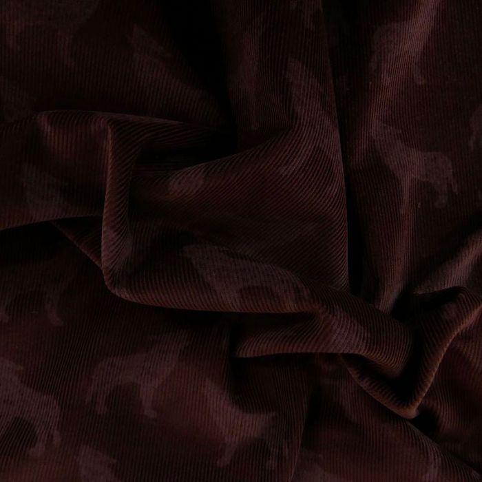 Coupon x 40 cm - Tissu velours côtelé loups bordeaux