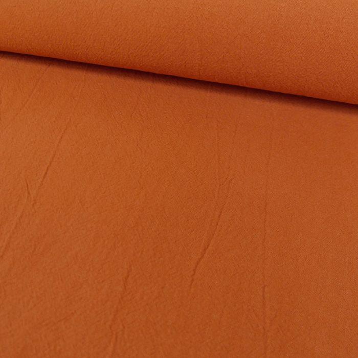 Tissu coton lavé uni - rouille x 10 cm