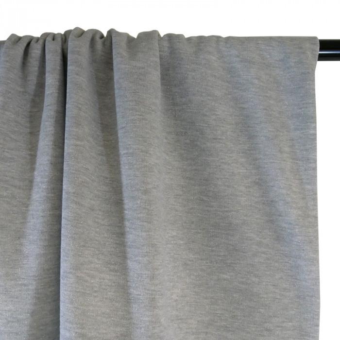 Coupon x 50 cm - Tissu molleton sweat lurex argent gris
