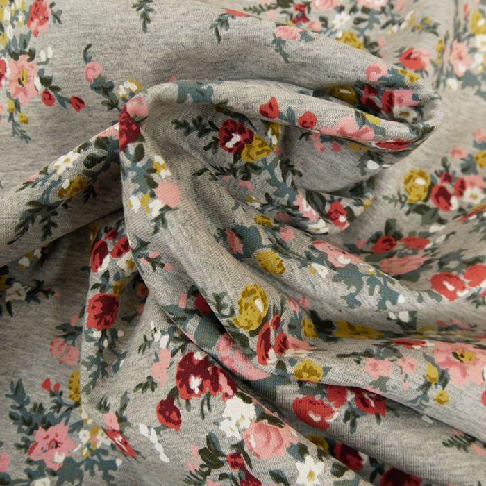 Tissu jersey gratté fleurs - gris x 10 cm