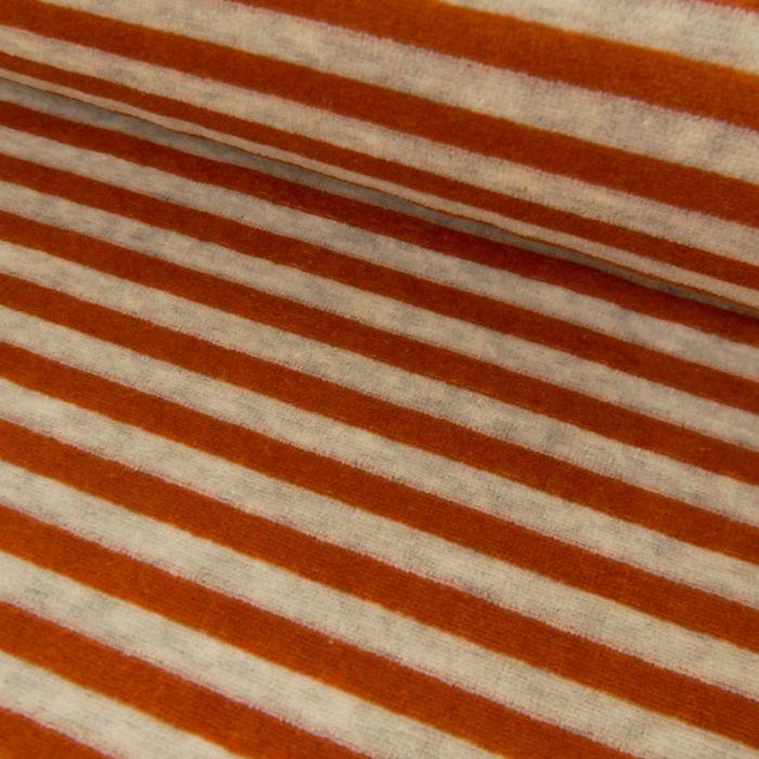 Tissu jersey velours nicky rayures rouille - gris clair x 10 cm