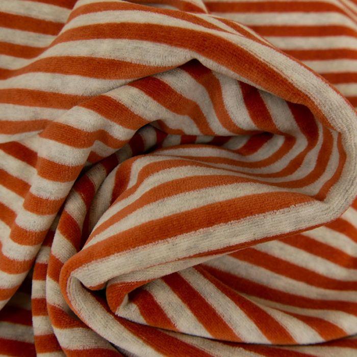 Tissu jersey pilou rayures rouille - gris clair x 10 cm