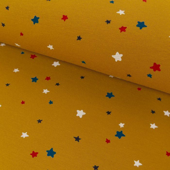 Tissu jersey bio étoiles - moutarde x 10 cm