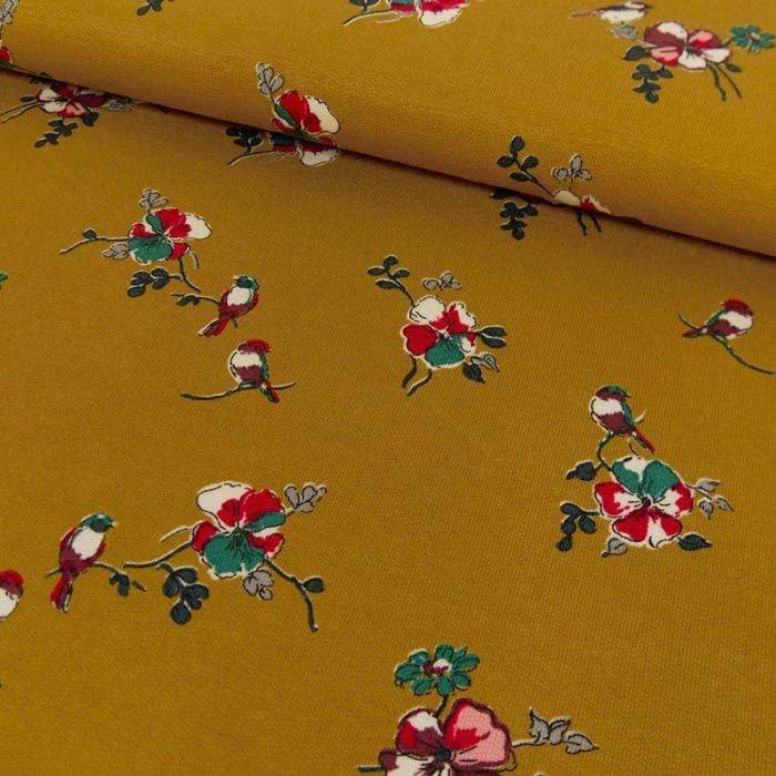 Tissu jersey fin fleurs - moutarde x 10 cm