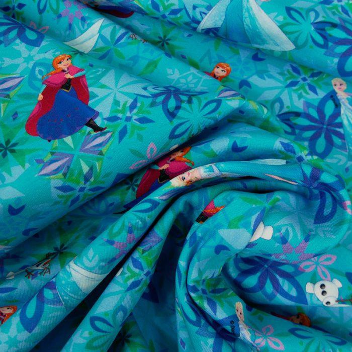 Tissu jersey sweat léger Reine des Neiges x 10 cm