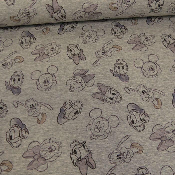 Tissu jersey sweat léger Disney - gris x 10 cm