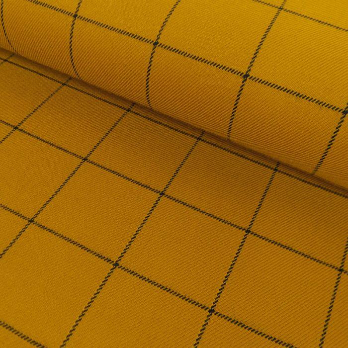 Tissu polyviscose carreaux - moutarde x 10 cm