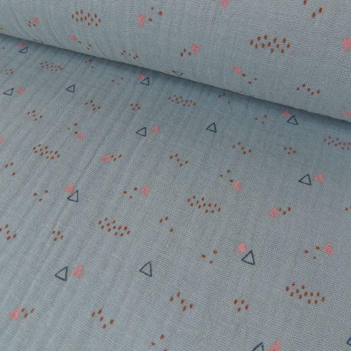 Tissu double gaze petits triangles - bleu x 10cm