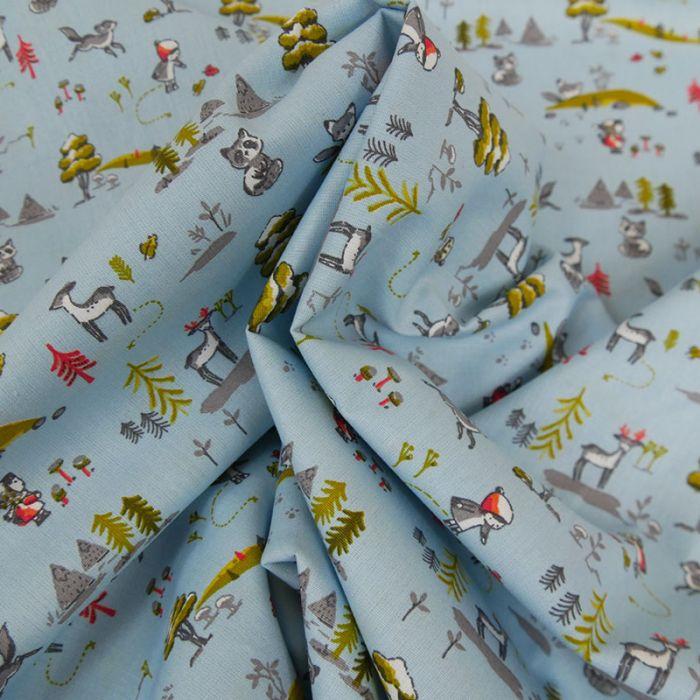 Tissu coton forêt - bleu x 10 cm