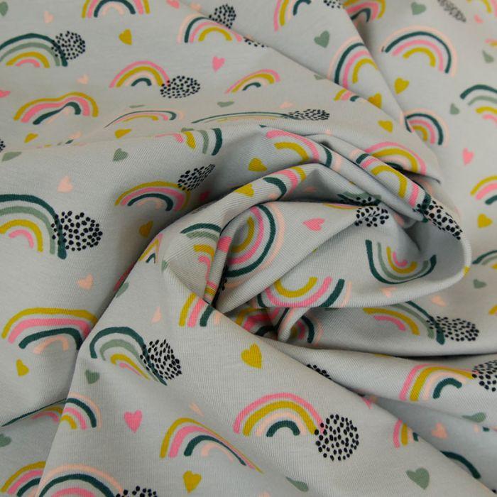 Tissu jersey bio arcs-en-ciel - bleu clair x 10 cm