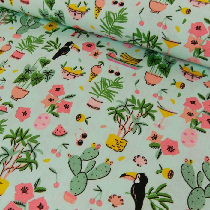 Tissu coton tropical cactus - vert d'eau x 10 cm