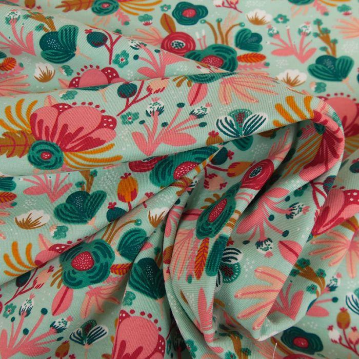 Tissu jersey bio fleurs roses vertes - mint x 10 cm