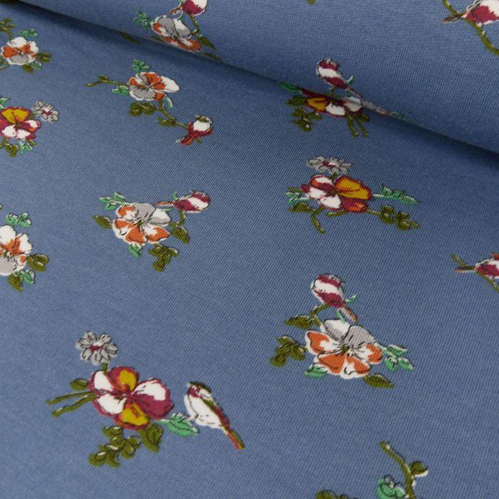 Tissu jersey fin fleurs - bleu x 10 cm