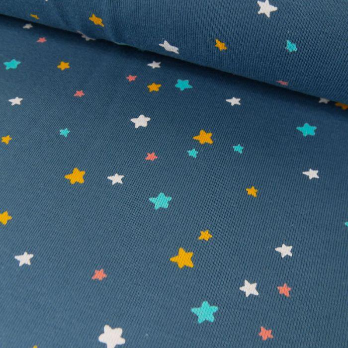 Tissu jersey bio étoiles - bleu x 10 cm