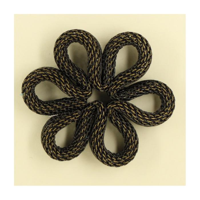 Pendentif résille plat fleur 36mm bronze x1