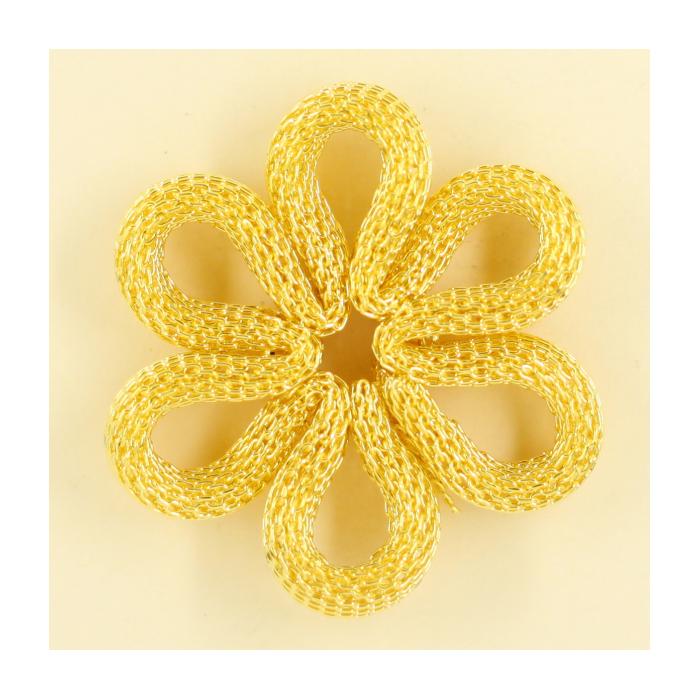 Pendentif résille plat fleur 36mm doré x1